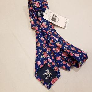 NWT Penguin Hamil Blue Floral Neck Tie
